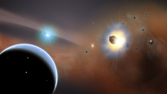"Artist's conception of a hypothetical giant planet (left) in Beta Pictoris. The gas giant would sweep up comets into a swarm, causing frequent collisions. Astronomers using the Atacama Large Millimeter Array (ALMA) are calling this the ""preferred model"" for observations they made. Credit: Goddard Space Flight Center/F. Reddy"