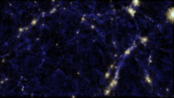 "A simulation of the ""cosmic web"" believed to connect galaxies. A void is visible in the center of the image, a spot where researchers found galaxy ""tendrils."" Credit: Cunnama, Power, Newton and Cui (ICRAR)."