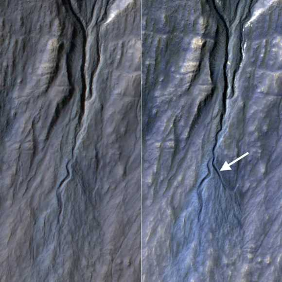 At right, a new gully appears in pictures of the same region of Terra Sirenum on Mars. The picture at left was taken in November 2010, and the right in May 2013. Pictures obtained from the High Resolution Imaging Science Experiment (HiRISE) camera on NASA's Mars Reconnaissance Orbiter. Credit: NASA/JPL-Caltech/Univ. of Arizona