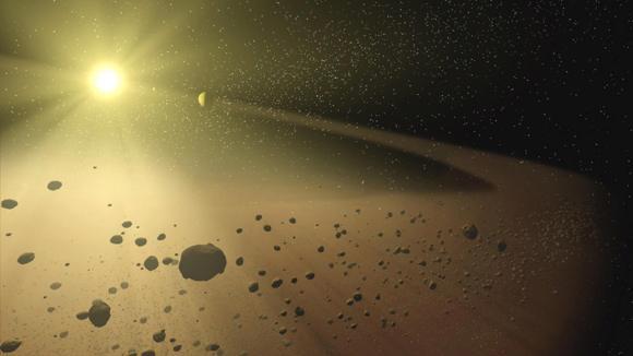 Artist's impression of the asteroid belt. Image credit: NASA/JPL-Caltech