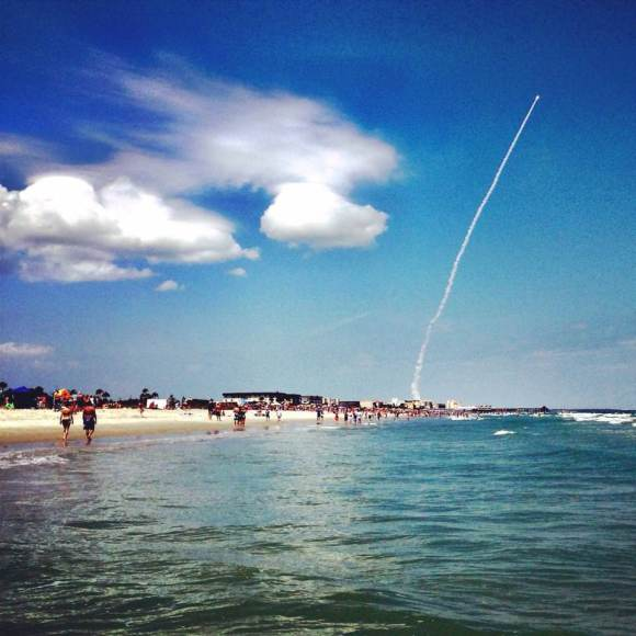 Atlas V NROL-67 launch photographed by iPhone from Cocoa Beach on April 10, 2014 while swimming. Credit: Nicole Solomon