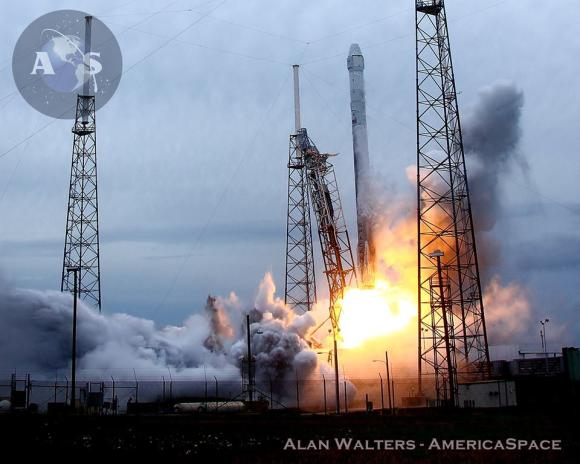 Blastoff of SpaceX Falcon 9 rocket from Cape Canaveral Air Force Station in Florida on April 18, 2014.   Credit:  Alan Walters/AmericaSpace