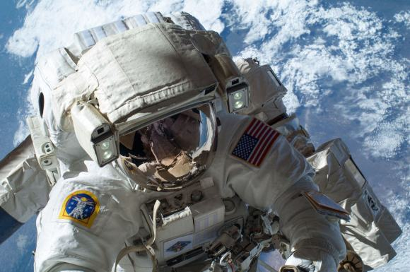 NASA astronaut Mike Hopkins during a contingency spacewalk in December 2013 to replace a faulty ammonia pump. Hopkins was part of Expedition 37/38. Credit