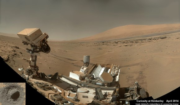 "Curiosity snaps selfie at Kimberley waypoint with towering Mount Sharp backdrop on April 27, 2014 (Sol 613). Inset shows MAHLI camera image of rovers mini-drill test operation on April 29, 2014 (Sol 615) into ""Windjama"" rock target at Mount Remarkable butte.  MAHLI color photo mosaic assembled from raw images snapped on Sol 613, April 27, 2014. Credit: NASA/JPL/MSSS/Marco Di Lorenzo/Ken Kremer - kenkremer.com"