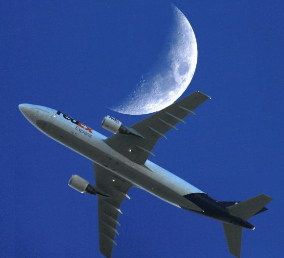 Airbus A300 B4-622R from London to Paris  -- and to the Moon?  -- on April 5, 2014. Credit and copyright: Sebastien Lebrigand.