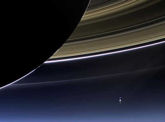 n this rare image taken on July 19, 2013, the wide-angle camera on NASA's Cassini spacecraft has captured Saturn's rings and Earth in the same frame. Image Credit: NASA/JPL-Caltech/Space Science Institute