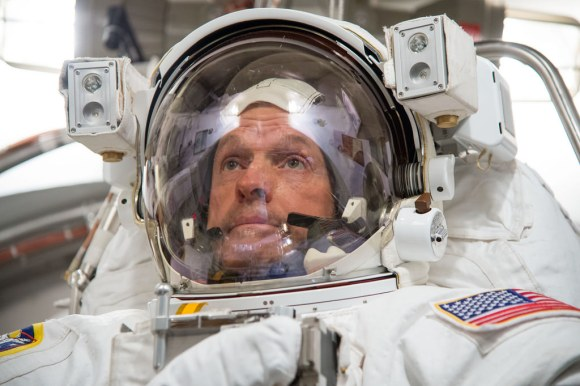 NASA astronaut Steve Swanson does a spacesuit fit check prior to the launch of Expedition 39 in March 2014. Credit: NASA