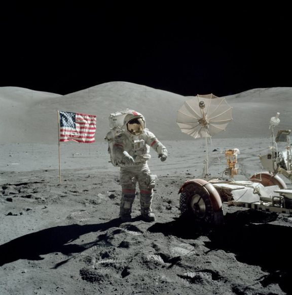 Gene Cernan on the Moon during the final EVA of the Apollo 17 mission, Dec. 13, 1972 (NASA/JSC scan)
