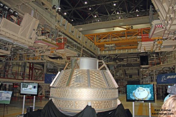 Early version of Boeing CST-100 pressure vessel mockup inside OPF-3 and surrounded by shuttle era scaffolding at the Kennedy Space Center, FL.   Credit: Ken Kremer – kenkremer.com