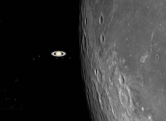 Simulation of the moon closing in on Saturn just prior to occultation. Credit: Gianluca Masi using SkyX software