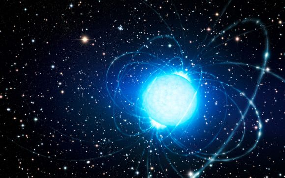 This artist's impression shows the magnetar in the very rich and young star cluster Westerlund 1. This remarkable cluster contains hundreds of very massive stars, some shining with a brilliance of almost one million suns. European astronomers have for the first time demonstrated that this magnetar — an unusual type of neutron star with an extremely strong magnetic field — probably was formed as part of a binary star system. The discovery of the magnetar's former companion elsewhere in the cluster helps solve the mystery of how a star that started off so massive could become a magnetar, rather than collapse into a black hole. Credit: ESO/L. Calçada