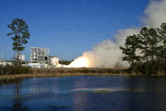 Hotfire test of Aerojet Rocketdyne AJ26 engines on the E-1 Test Stand at NASA's Stennis Space Center on Jan 17, 2014. Credit: NASA