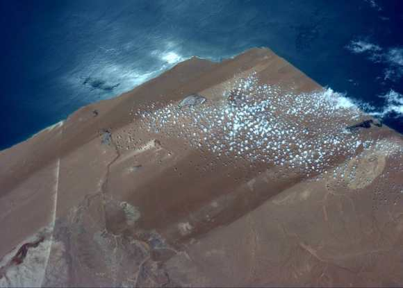 An image taken from the International Space Station taken on Jun 23, 2014 showing Western Sahara , near El Aaiun. Credit: Reid Wiseman/NASA.