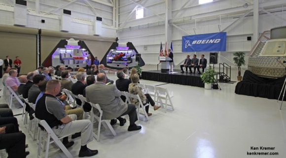 US Senator Bill Nelson (FL) addresses crowd at unveiling ceremony for Boeing's CST-100 manned capsule to the ISS at the Kennedy Space Center, Florida on June 9, 2014.  Credit: Ken Kremer - kenkremer.com