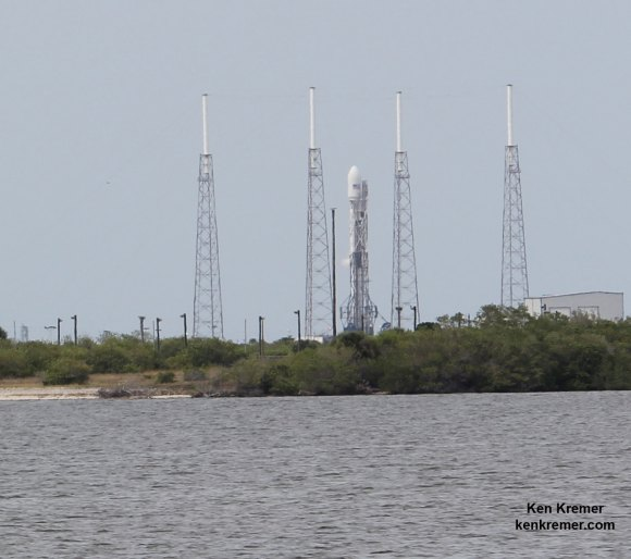 SpaceX Falcon 9 rocket after successful static hot-fire test on June 13 on Pad 40 at Cape Canaveral, FL.  Launch is slated for Friday, June 20, 2014  on ORBCOMM OG2 mission with six OG2 satellites. Credit: Ken Kremer/kenkremer.com