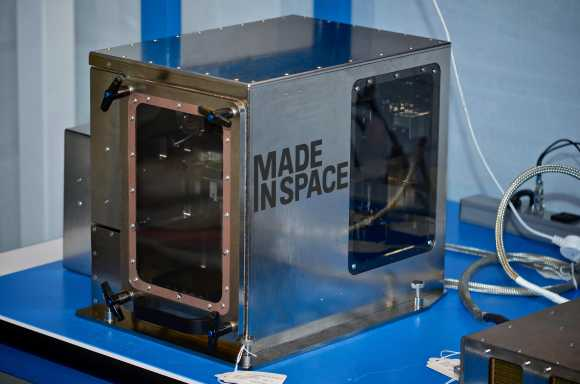 A close-up of the 3-D printer made by Made In Space Inc. Credit: Made In Space