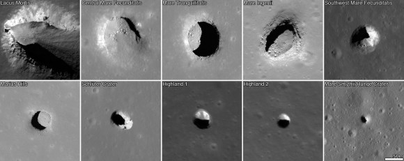 Images from the Lunar Reconaissance Orbiter showing pits on the lunar surface. The images are each 222 meters (728 feet) wide. Credit: NASA/GSFC/Arizona State University