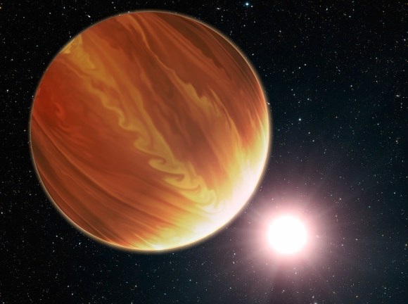 Artist's conception of gas giant planet HD 209458b in the constellation Pegasus, which has less water vapor in its atmosphere than expected. Credit: NASA, ESA, G. Bacon (STScI) and N. Madhusudhan (UC)
