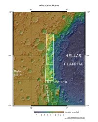 A map of the Hellas basin in the southern hemisphere of Mars, as well as the rocky Hellespontus Montes. Image taken by the High Resolution Stereo Camera on ESA's Mars Express. Credit: NASA MGS MOLA Science Team/Freie Universitaet Berlin