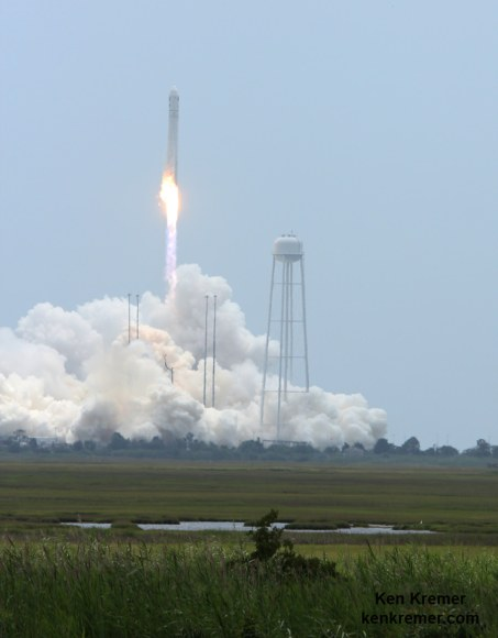 Orbital Sciences Corporation Antares rocket and Cygnus spacecraft blasts off on July 13  2014 from Launch Pad 0A at NASA Wallops Flight Facility , VA, on the Orb-2 mission and loaded with over 3000 pounds of science experiments and supplies for the crew aboard the International Space Station. Credit: Ken Kremer - kenkremer.com
