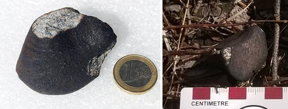 A 120 gram fragment of the Annama meteorite. Streamlines of molten material heated during atmospheric entry can be seen on the crust. Credit: Jakub Haloda