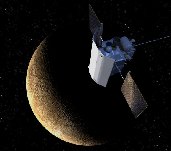 Artist's conception of NASA's MESSENGER spacecraft above Mercury. Credit: JHUAPL