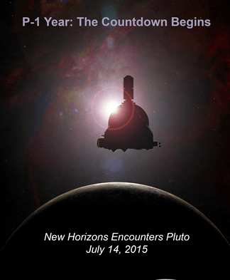 "A NASA ""poster"" marking the one year to Pluto encounter by New Horizons. Credit: NASA"