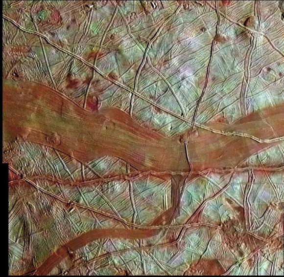 Europa's icy, cracked surface imaged by NASA's Galileo spacecraft Credit: NASA/JPL-Caltech/SETI Institute