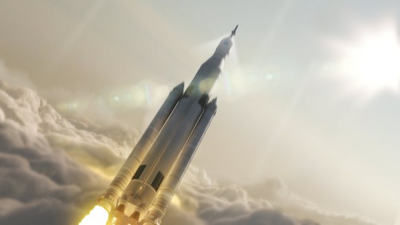 Artist concept of NASA's Space Launch System (SLS) 70-metric-ton configuration launching to space. SLS will be the most powerful rocket ever built for deep space missions, including to an asteroid and ultimately to Mars. Credit: NASA/MSFC
