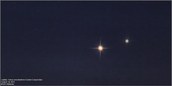 The Jupiter and Venus conjunction on August 18, 2014 along with the Beehive Cluster. Credit and copyright: Tom Wildoner.