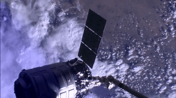 Cygnus Orb-2 spacecraft 'Janice Voss' unberthed from ISS at 5:14 a.m.  EDT, Friday, Aug. 15, 2014. Credit: NASA TV
