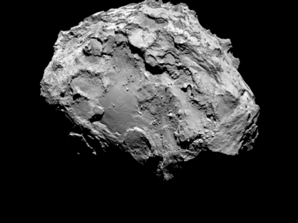 Comet 67P/Churyumov-Gerasimenko by Rosetta's OSIRIS narrow-angle camera on 3 August from a distance of 285 km. The image resolution is 5.3 metres/pixel. Credit: ESA/Rosetta/MPS for OSIRIS Team MPS/UPD/LAM/IAA/SSO/INTA/UPM/DASP/IDA