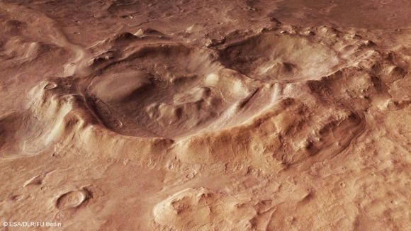 A Mars Express image of craters in Hellas Basin, an impact basin on Mars that is one of the biggest in the solar system. Credit: ESA/DLR/FU Berlin