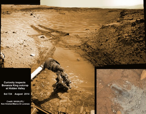 NASA's Curiosity rover hammers into 'Bonanza King' rock outcrop evaluating potential as 4th drill site for sampling at 'Hidden Valley' in this photo mosaic view captured on Aug. 20, 2014, Sol 724.  Inset MAHLI camera image at right shows resulting rock indentation that caused it to budge and be unsafe for further drilling.  Note the background of sand dune ripples and deep wheel tracks inside Hidden Valley that forced quick exit to alternate route forward. Navcam camera raw images stitched and colorized.  Credit: NASA/JPL-Caltech/MSSS/Ken Kremer-kenkremer.com/Marco Di Lorenzo