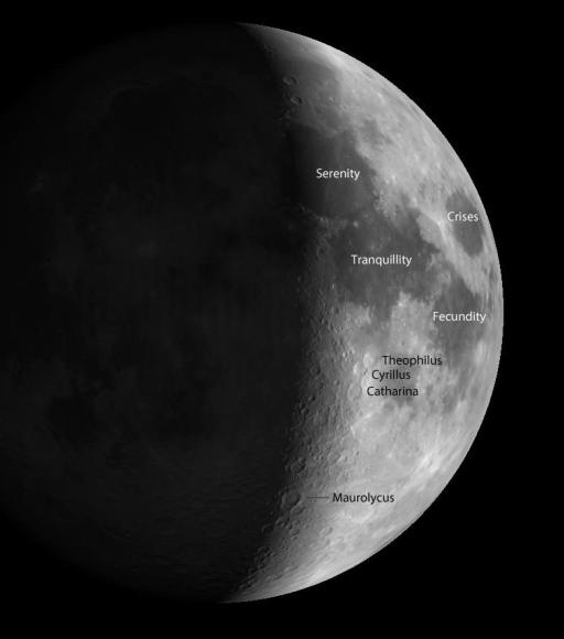 Four dark lunar seas, also called 'maria' (MAH-ree-uh), pop out in binoculars. Four featured craters are also highlighted - the triplet of Theophilus, Cyrillus and Catharina and Maurolycus, named after Francesco Maurolico, a 16th century Italian scientist. Credit: Virtual Moon Atlas / Christian LeGrande, Patrick Chevalley