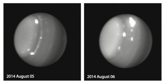 Huge storms on Uranus were spotted by the Keck Observatory on Aug. 5 and Aug. 6, 2014. Credit: Imke de Pater (UC Berkeley), Pat Fry (University of Wisconsin), Keck Observatory
