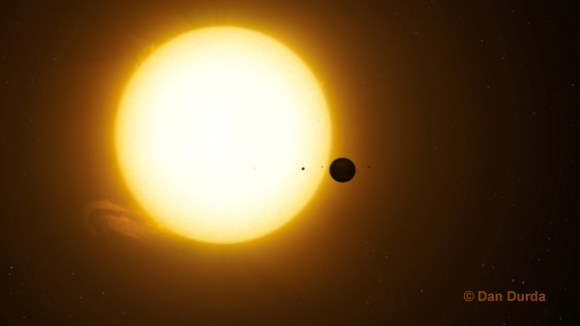 An artist's conception of a distance exomoon blocking out a star's light. Credit: Dan