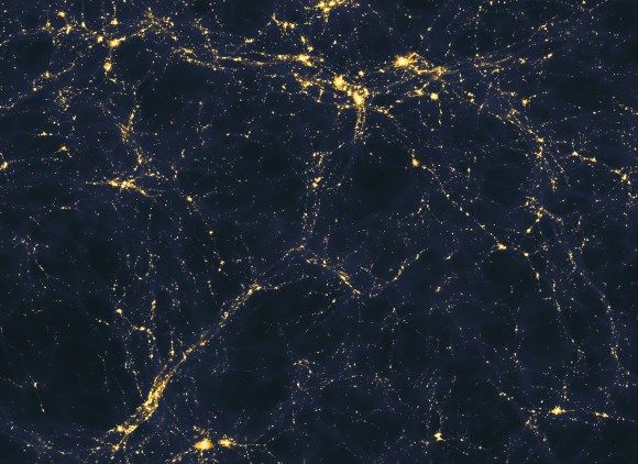 A computer model shows one scenario for how light is spread through the early universe on vast scales (more than 50 million light years across). Astronomers will soon know whether or not these kinds of computer models give an accurate portrayal of light in the real cosmos. Credit: Andrew Pontzen/Fabio Governato