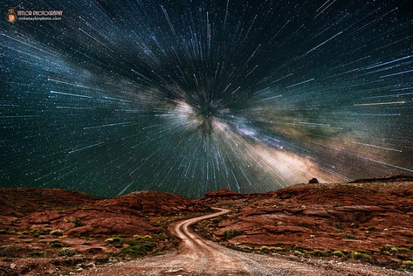 Is Earth going at warp speed in this image? This is a composite of two photographs, one for the foreground and one for the sky.  The photographer  zoomed in on the image of the Milky Way for the last 10 seconds of the exposure to give it a 'warp speed' look.  Credit and copyright: Mike Taylor/Mike Taylor Photography.