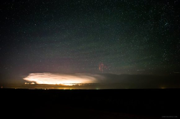 More sprites with airglow and gravity waves over South Dakota on August 20, 2014. Credit and copyright: Randy Halverson.