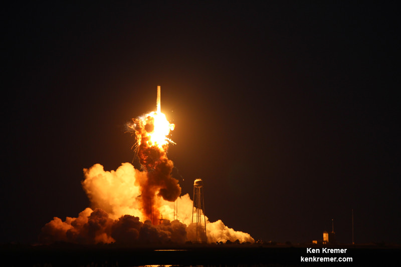 Base of Orbital Sciences Antares rocket explodes moments after blastoff from NASA's Wallops Flight Facility, VA, on Oct. 28, 2014, at 6:22 p.m. Credit: Ken Kremer – kenkremer.com