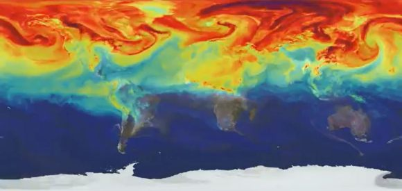 High concentrations of carbon dioxide (in red) tend to congregate in the northern hemisphere during colder months, when plants can't absorb as much from the atmosphere. This picture is based on a NASA Goddard computer model from ground-based observations and depicts concentrations on March 30, 2006. Credit: NASA's Goddard Space Flight Center/B. Putman/YouTube (screenshot)