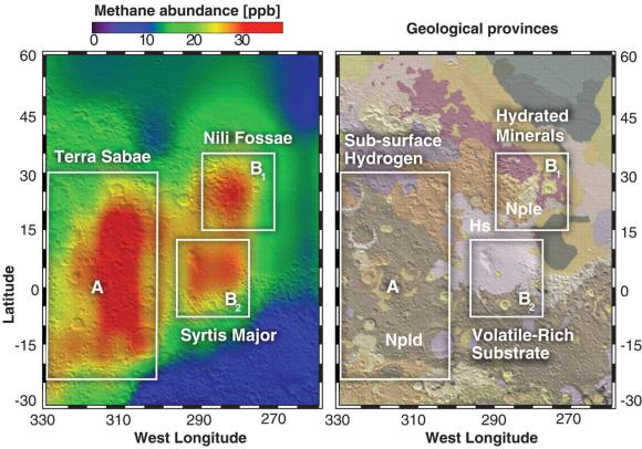 Regions where methane appears notably localized in Northern Summer (A, B1, B2), andtheir relationship to mineralogical and geo-morphological domains. (A.) Observations of methane near the Syrtis Major volcanic district. (B.) Geologic map of Greeley and Guest (41) superimposed on the topographic shaded-relief from MOLA (42). The most ancient terrain (Npld, Nple) is Noachian in age (~3.6 - 4.5 billion years old, when Mars was wet), and is overlain by volcanic deposits from Syrtis Major of Hesperian (Hs) age (~3.1 - 3.6 billion yrs old). (Credit: Mumma, et al., 2009, Figure 3)