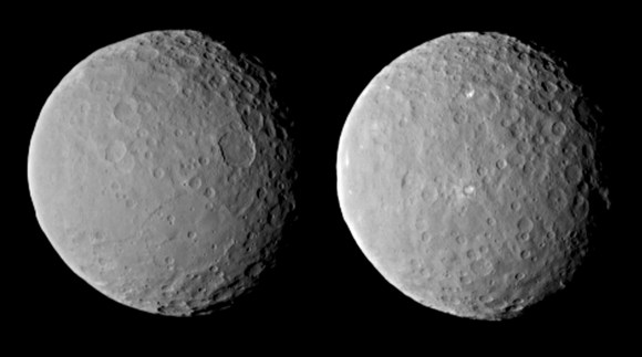 These images of dwarf planet Ceres, processed to enhance clarity, were taken on Feb. 19, 2015, from a distance of about 29,000 miles (46,000 kilometers), by NASA's Dawn spacecraft. Dawn observed Ceres completing one full rotation, which lasted about nine hours. Credit: NASA/JPL-Caltech/UCLA/MPS/DLR/IDA