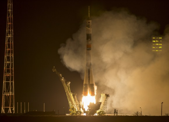 The Soyuz TMA-16M spacecraft is seen as it launches to the International Space Station with Expedition 43's NASA Astronaut Scott Kelly and Russian cosmonauts Mikhail Kornienko and Gennady Padalka of the Russian Federal Space Agency (Roscosmos) onboard Friday, March 27 (Saturday, March 28 Kazakh time) from the Baikonur Cosmodrome in Kazakhstan.  Credit: NASA/Bill Ingalls