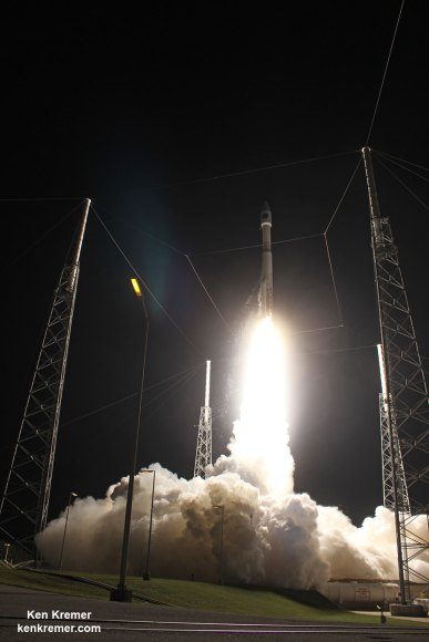 A United Launch Alliance Atlas V rocket with NASA's Magnetospheric Multiscale (MMS) spacecraft onboard launches from the Cape Canaveral Air Force Station Space Launch Complex 41, Thursday, March 12, 2015, Florida.  Credit: Ken Kremer- kenkremer.com