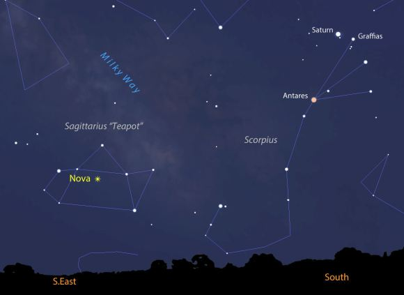 This view shows the sky facing south-southeast just before the start of dawn in mid-March from the central U.S. The nova's located squarely in the Teapot constellation. Source: Stellarium