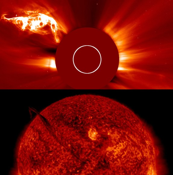 SOHO LASCO C2 (top) and SDO AIA 304 (bottom) image of a solar filament detaching on April 28-29, 2015