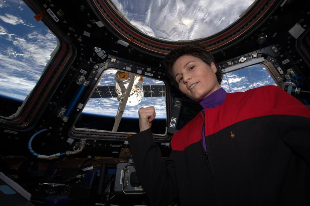 Flight Engineer Samantha Cristoforetti of the European Space Agency in Star Trek uniform as Dragon arrives at the International Space Station on April 17, 2015. Credit: NASA