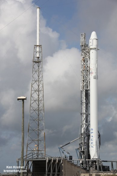 SpaceX Falcon 9 and Dragon poised at Cape Canaveral Space Launch Complex 40 in Florida for planned April 14 launch to the International Space Station on the CRS-6 mission. Credit: Ken Kremer/kenkremer.com